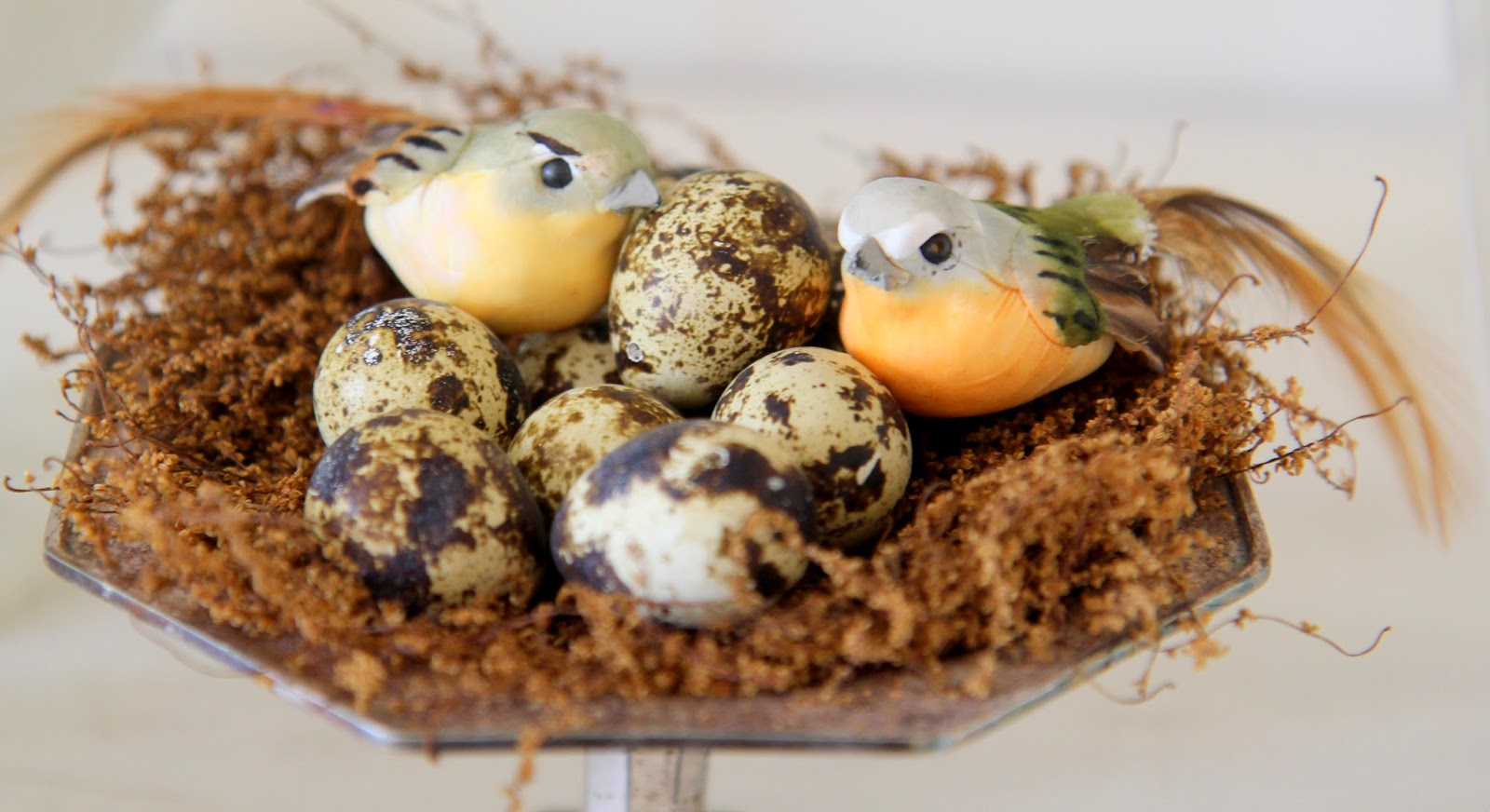 Nest with quail eggs; Easter Buffet Table Decor - Nora's Nest