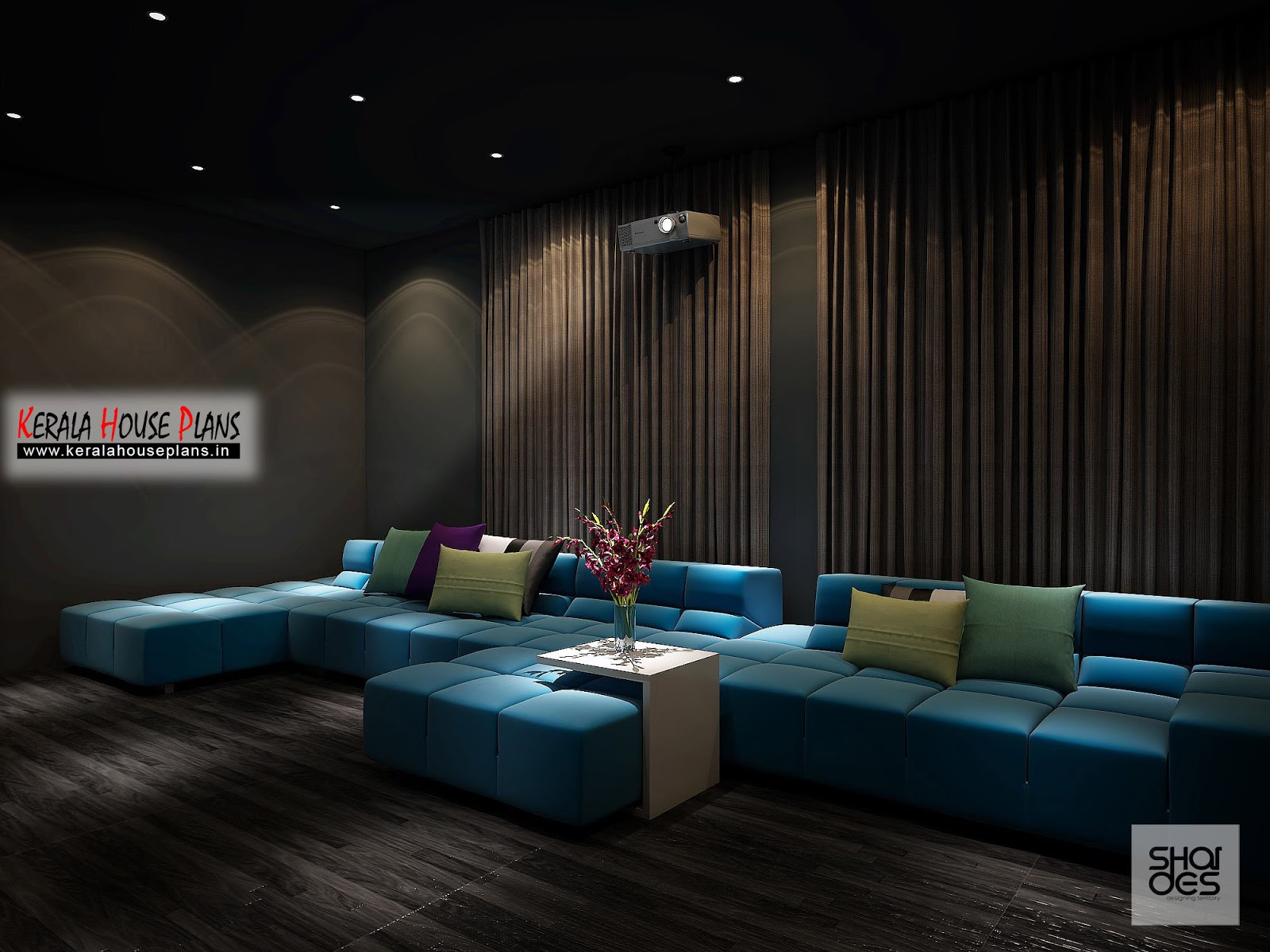 Home theater interior design idea and concept kerala house plans designs floor plans and Home theatre room design ideas in india