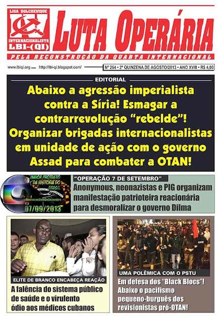 LEIA A EDIÇÃO DO JORNAL LUTA OPERÁRIA, Nº264, 2ª QUINZENA DE AGOSTO/2013