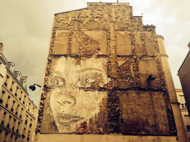 Street Art By Portuguese Artist Vhils On Rue De La Fontaine Au Roi, Paris, France. 1