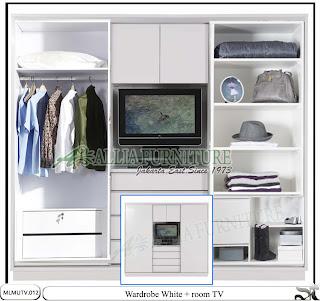 Lemari sliding minimalis tv unit white
