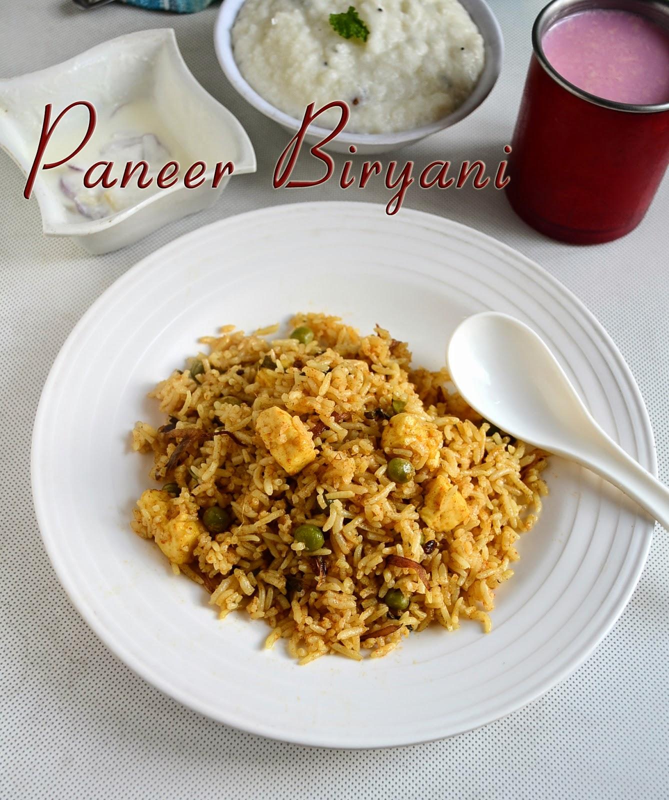 Easy paneer biryani recipepaneer recipes chitras food book forumfinder Gallery