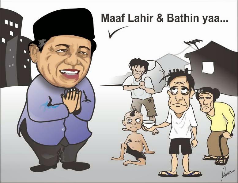 Gambar Karikatur SBY Ucapan Mohon Maaf Lahir Batin Puasa Ramadhan 2014 Idul Fitri
