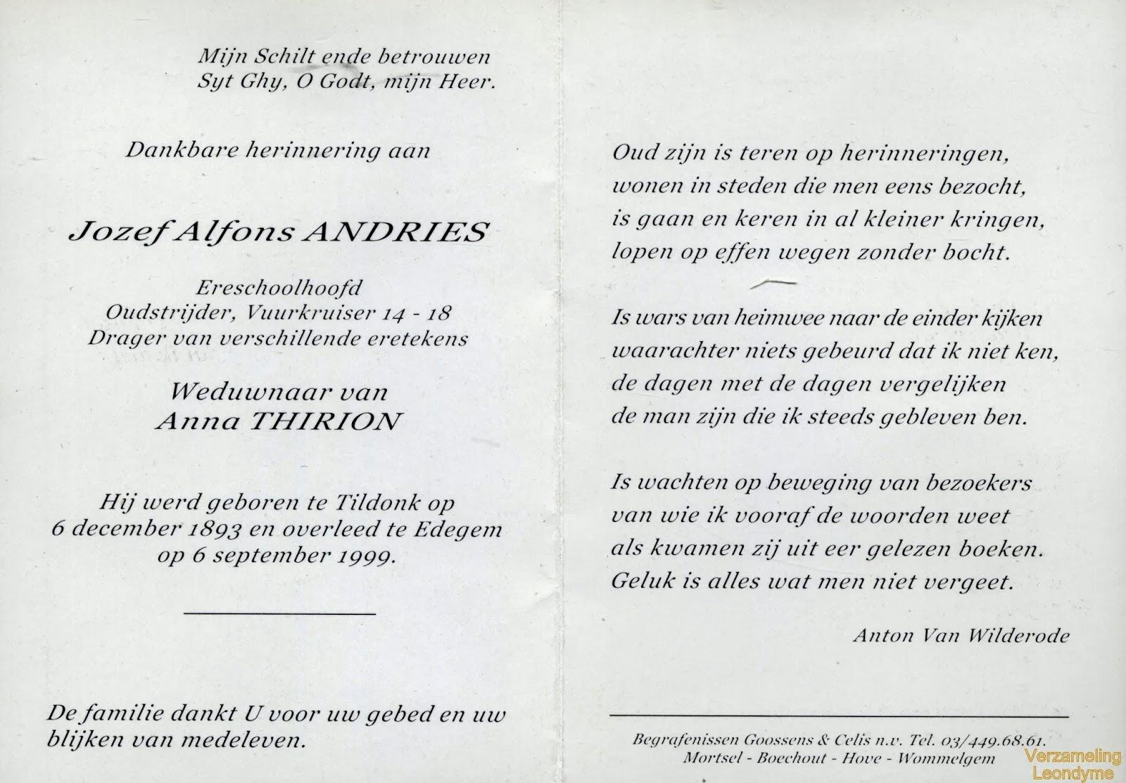 Bidprentje van de 105-jarige oud-strijder-vuurkruiser Jozef Alfons Andries 1893-1999
