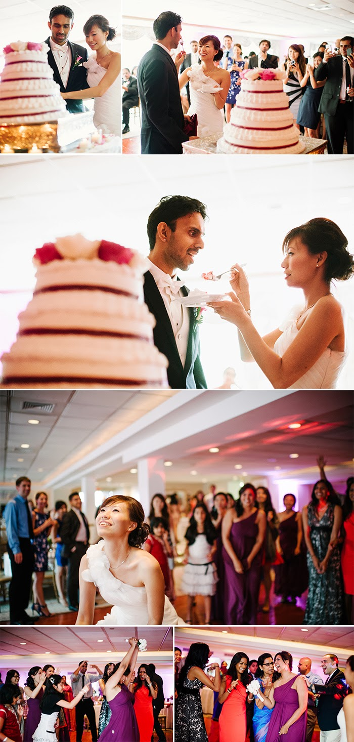 New York Long Island wedding photography Swan Club cake cutting bouquet toss