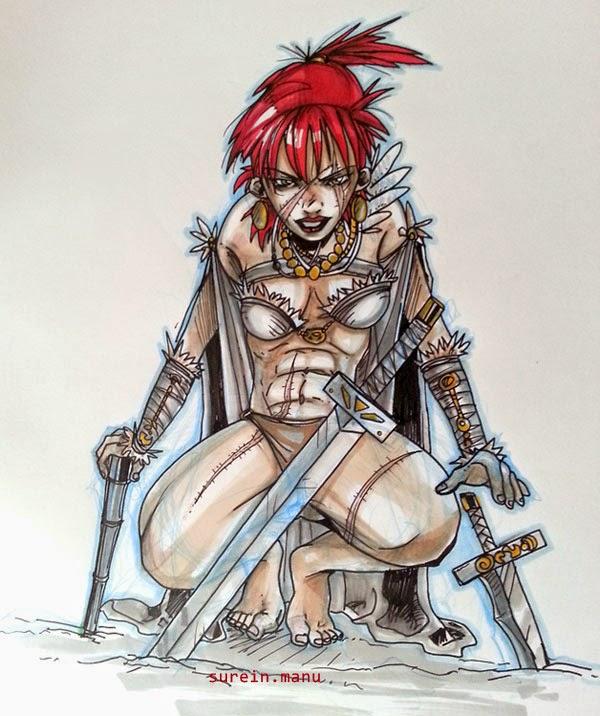 Red War, femme barbare - feutres promarker
