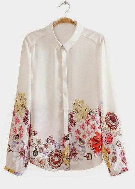Blusa Manga Larga de Gasa con Flores Estampadas