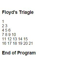 Free Programming Source Codes To All: Floyd's Triangle in JavaScript
