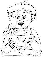 Gambar Mewarnai Seorang Anak Makan Buah Semangka