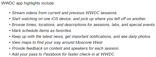 WWDC App v2.0 2014 Features