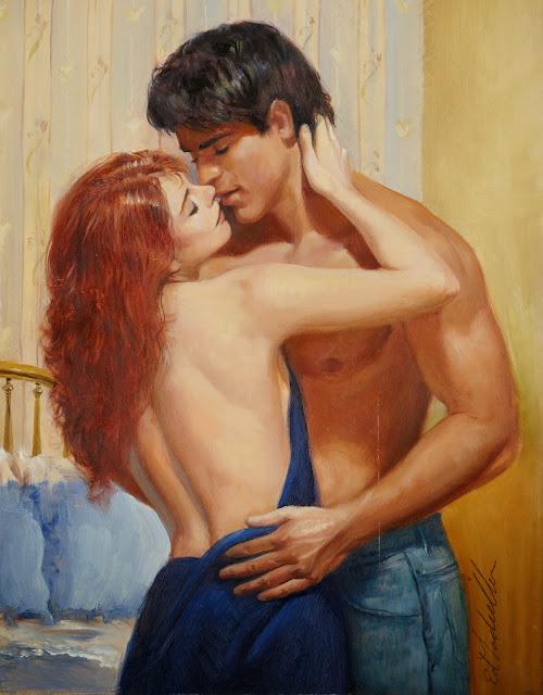blue dress,red head, cute couple