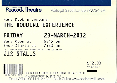 The Houdini Experience  Peacock Theatre ticket
