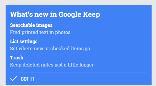 Google Keep New Features