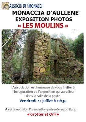 exposition sur les moulins de Monacia d'Aullène et présentation de l'ouvrage sur les orii et sapare