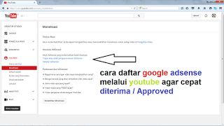 cara daftar google adsense melalui youtube agar cepat diterima