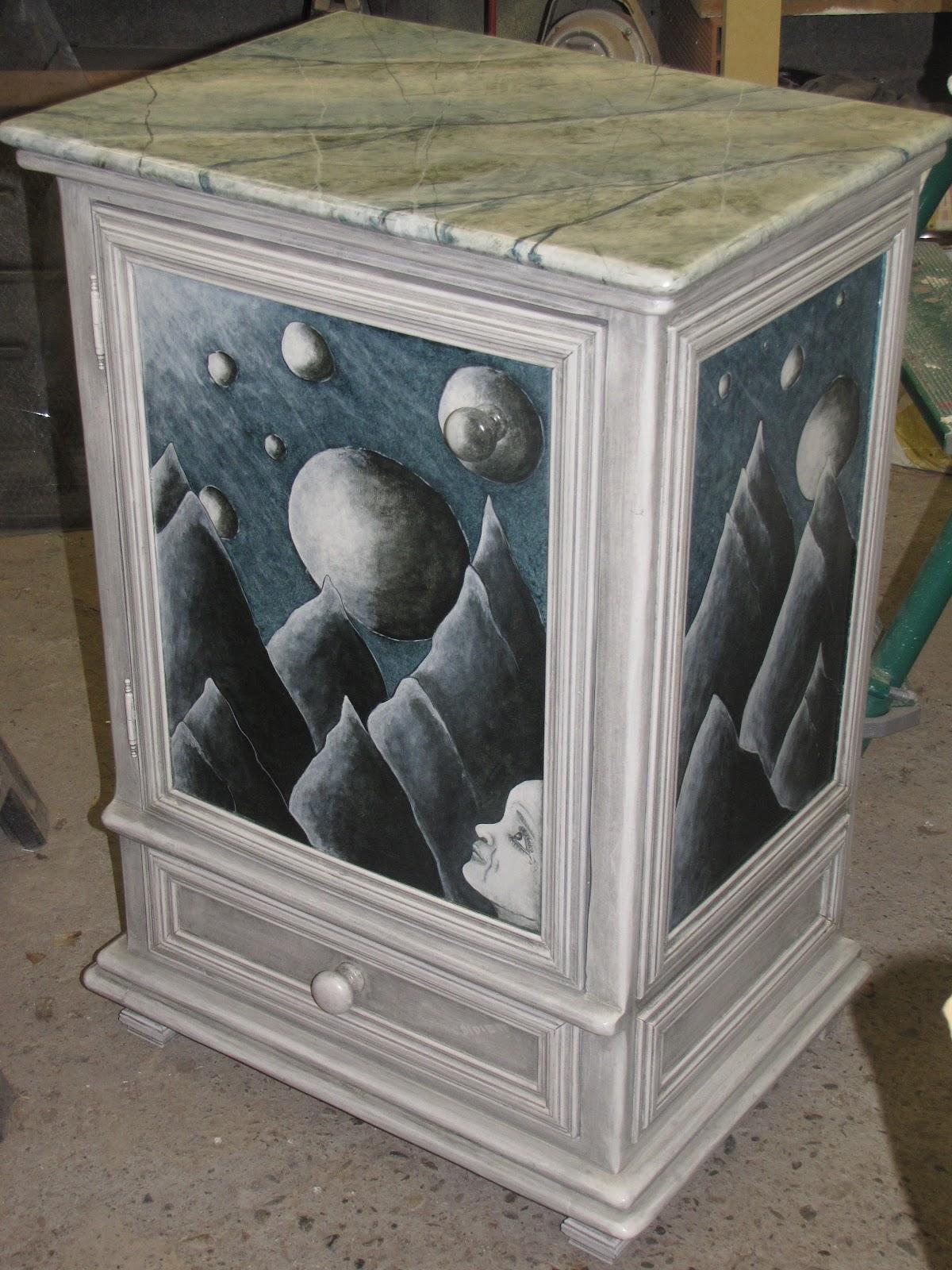 peinture d corative artisanale didier roussel meuble peint acrylique et patine a l 39 huille. Black Bedroom Furniture Sets. Home Design Ideas