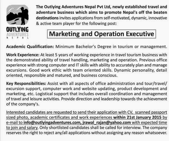 EducateNepal.com: Vacancy from Outlying Adventures Nepal Pvt Ltd.