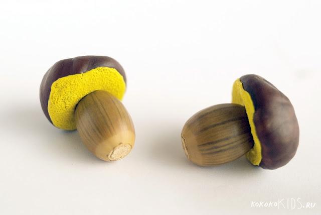Поделки из каштанов и желудей - несколько видов грибов.