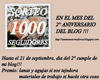 ANAMA ESTA DE SORTEO!!!   1000 SEGUIDORES