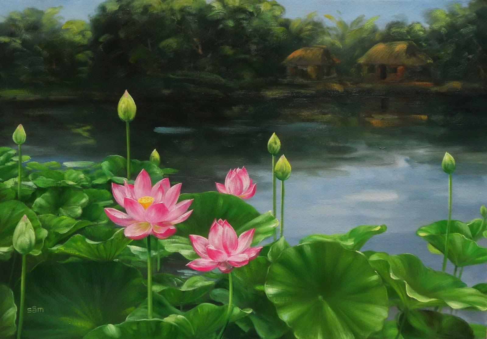 LÊ SÂM Art: tranh hoa sen. làng quê Việt Nam