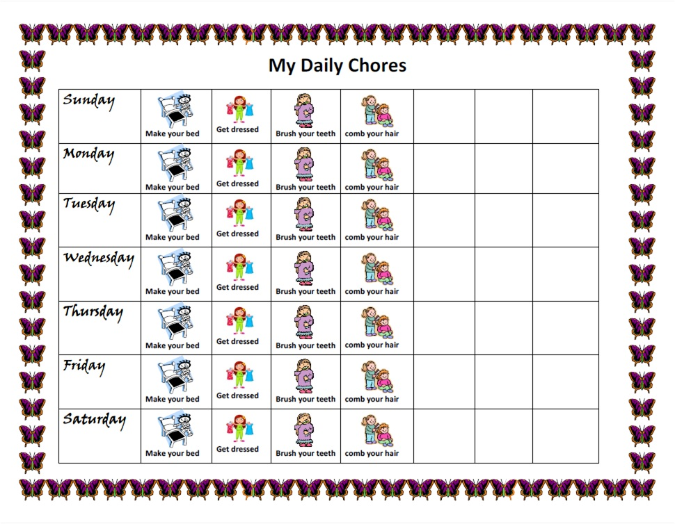 daily chore chart template .