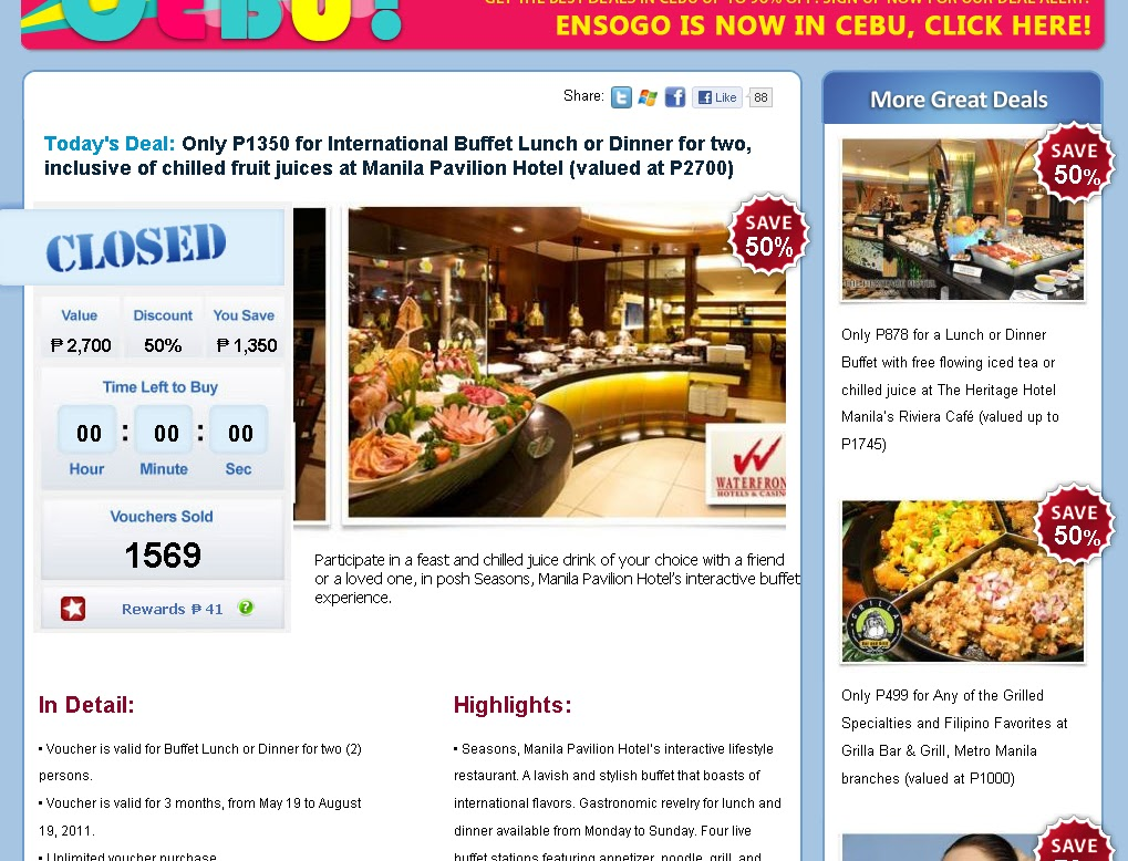 Lunch Dinner Buffet For 2 At Manila Pavilion Hotel Only 1350