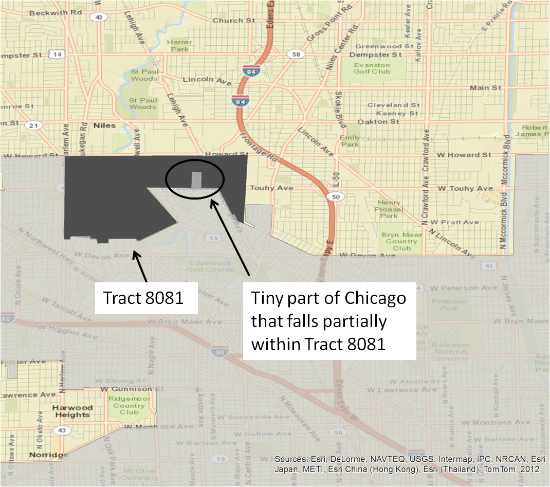 for the truly obsessive ahem here is a close up of the part of chicago that reaches up into tract 8081 the area includes north mcvicker avenue