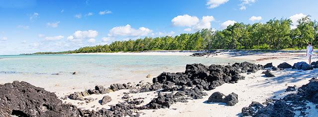 panorama isola maurizius, isola cervi, mauritius spiaggia vulcanica