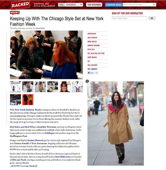 Jessica Moazami aka Fashion Junkie featured on Racked Chicago at NYFW