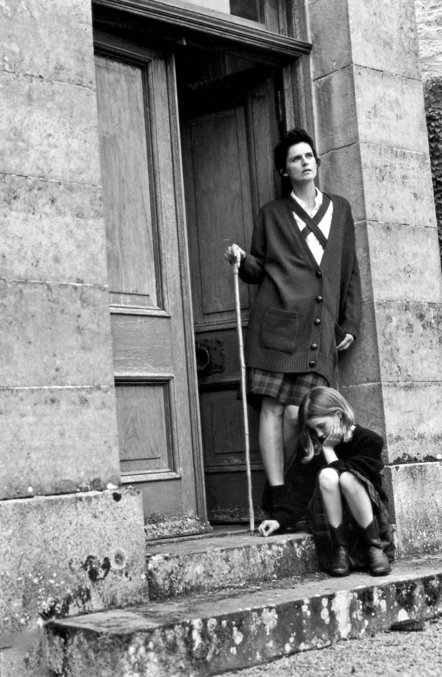 tella Tennant wearing Hermes & Bottega Veneta in A Highland Friendship editorial | Vogue Italia October 2012 (photography: Bruce Weber, styling: Joe McKenna)