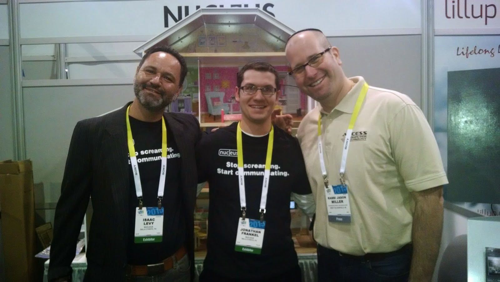 Rabbi Jason Miller with Isaac Levy and Rabbi Jonathan Frankel of Nucleus at CES 2015