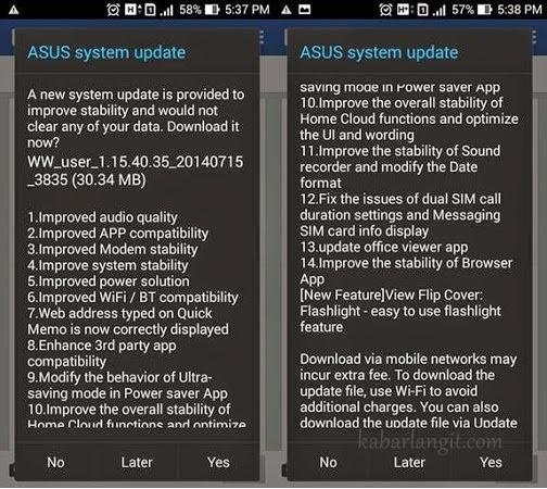 Cara Update Asus Zenfone 5 Kitkat 4.4