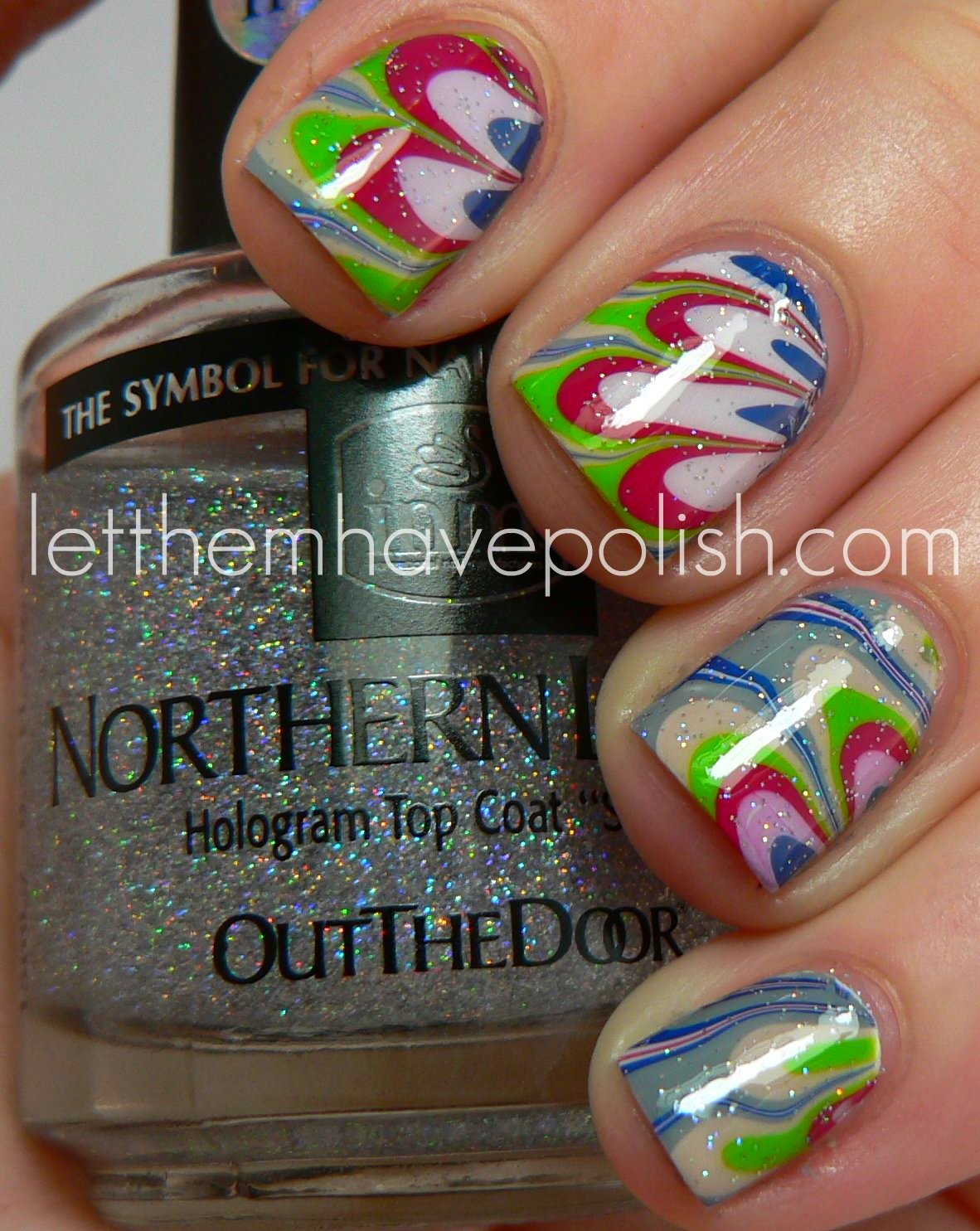 Design Seeds Inspired Nail Art Series Hummingbird Hues Watermarble
