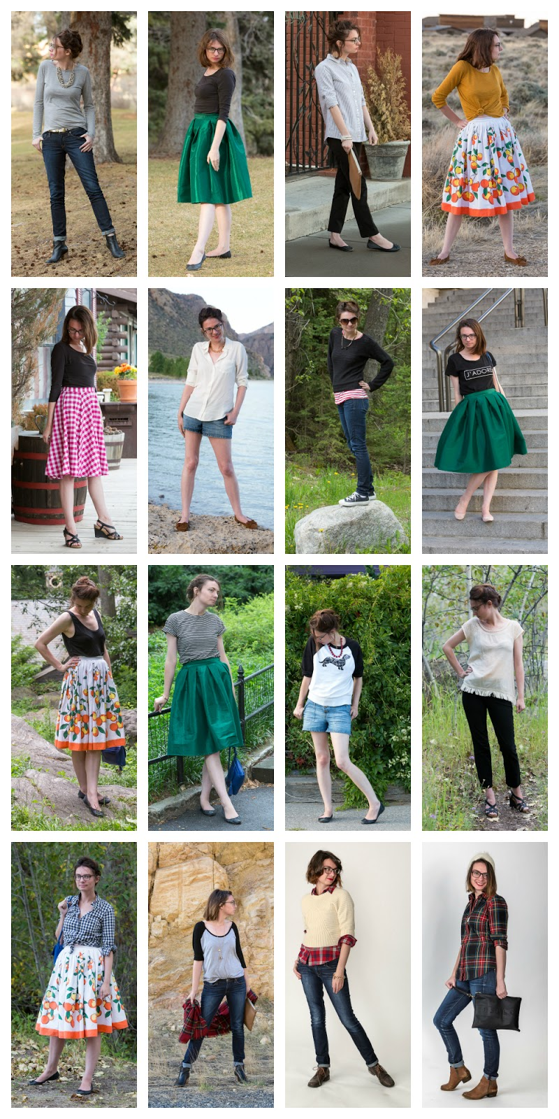Never Fully Dressed, blogger, outfits, year in review, orange skirt, skinny jeans, popbasic, green skirt,