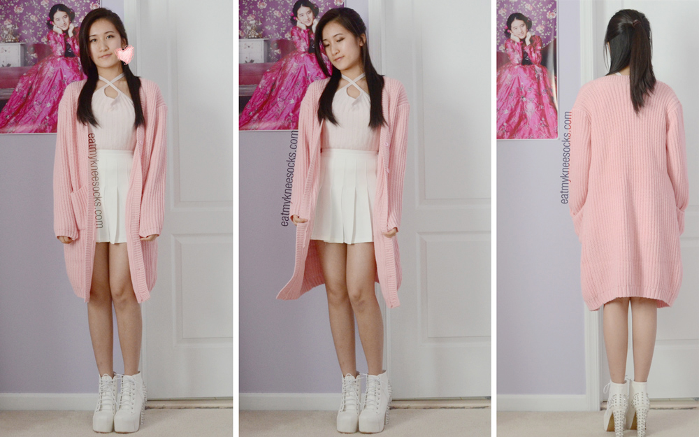 More photos of the white spiked booties, pleated American Apparel tennis skirt, blush crop top, and Stylenanda-inspired oversized knit pink cardigan.