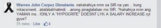Warren John Corpuz Dimalanta's Miraflor Camangyan Abella's Mario Mendoza Bautista's posted message