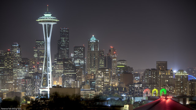 View of the Space Needle and the Pacific Science Center, USA
