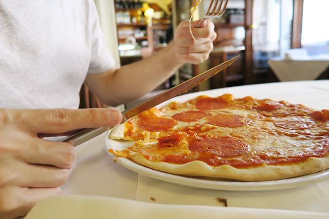 Pepperoni pizza at Antico Ristorante Caffe Capranica