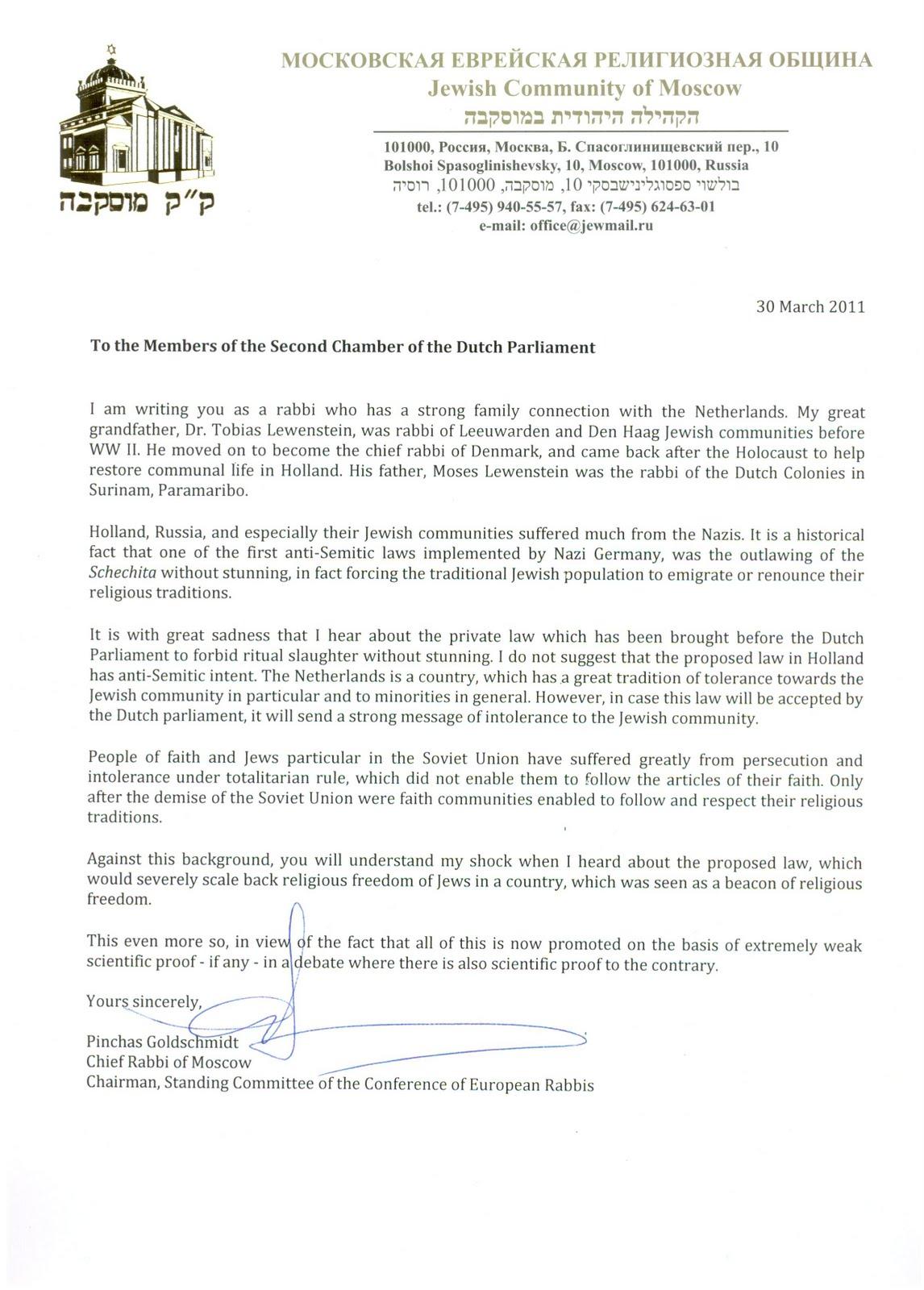 hoeiboei: Opperrabbijn van Moscou schrijft brief aan Tweede Kamer