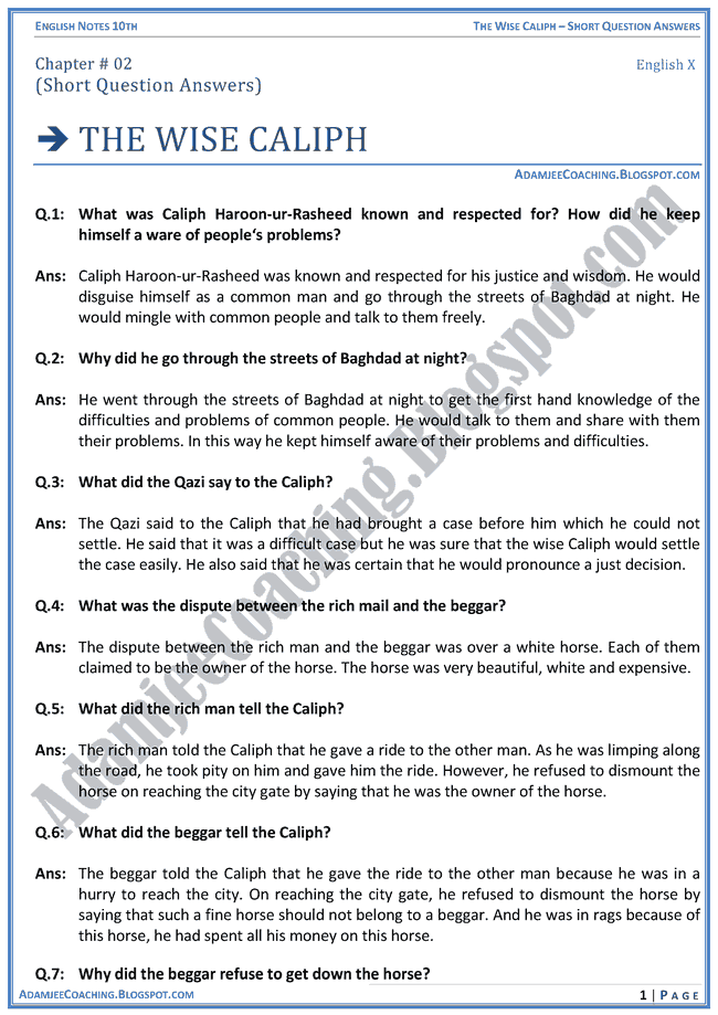 the-wise-caliph-short-question-answers-english-x