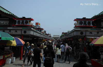 The Nakamise dori shopping arcade at the Sensoji Temple complex, Tokyo