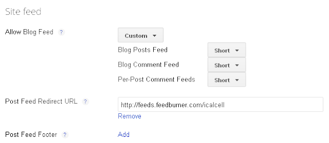 blog site feed setting