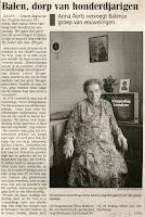 Anna Aerts (1897-2000), gevierd als  honderdjarige. Krant van 18-08-1997