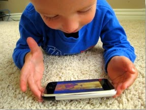 Baby using a smartphone