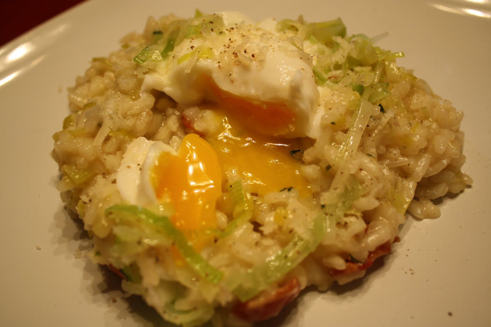 Lactose-Free Girl: Bacon and Leek Risotto with Poached Eggs
