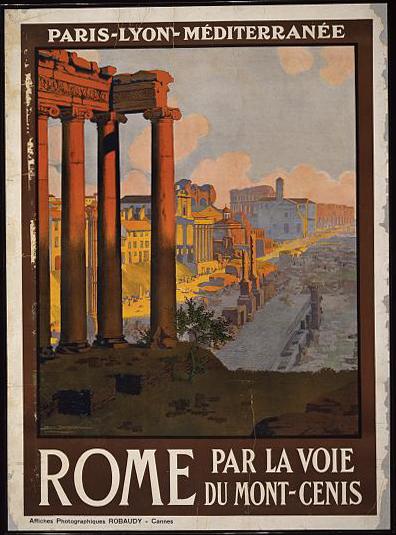 classic posters, graphic design, italian poster, retro prints, travel, travel posters, vintage, vintage posters, Rome par la voie du Mont-Cenis - Vintage Italy Travel Poster