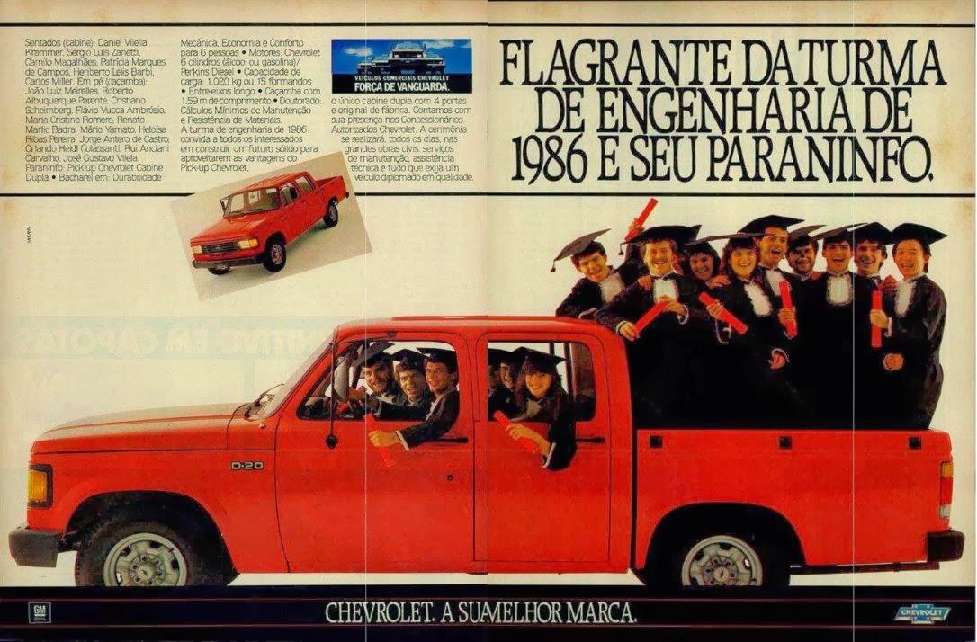 Propaganda da pickup D-20 da Chevrolet em 1986.
