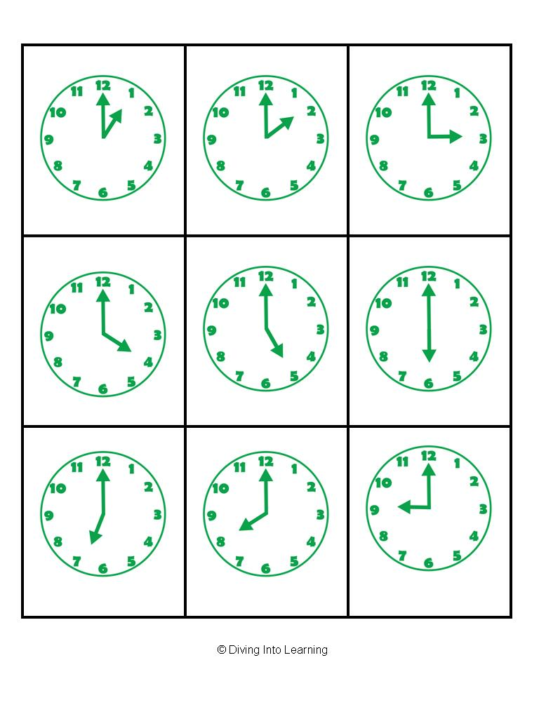 Telling+Time+to+the+hour+packet-+bingo,+game,+matching,+book ...