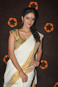 Actress Nivitha Glamorous photos in Saree-thumbnail-3