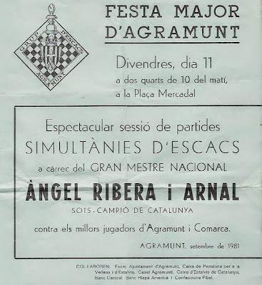 Cartel de las simultáneas en Agramunt impartidas por Ángel Ribera en 1981
